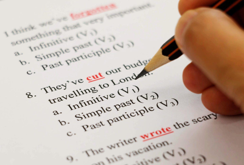 closeup of an english exam paper