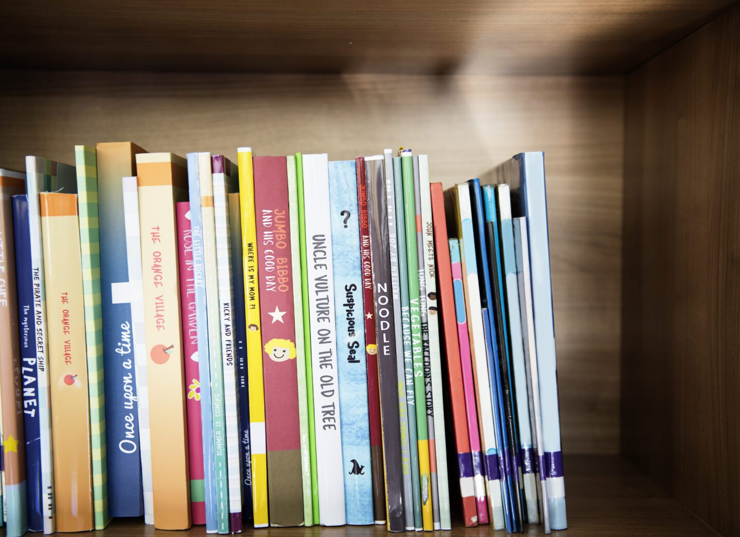 picture books for reluctant readers on a shelf