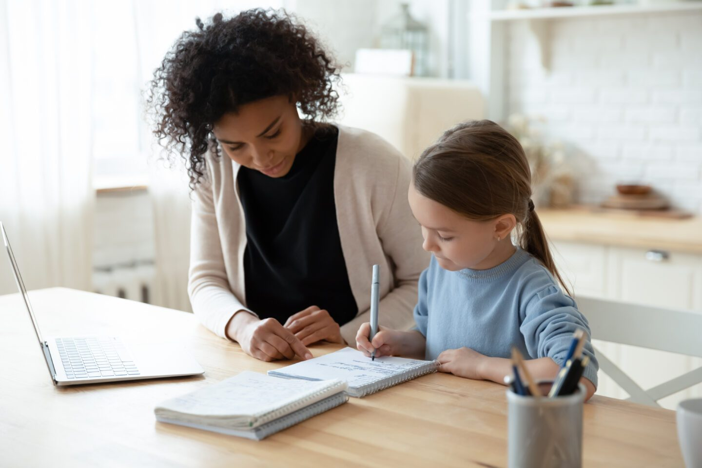 tutor with little girl